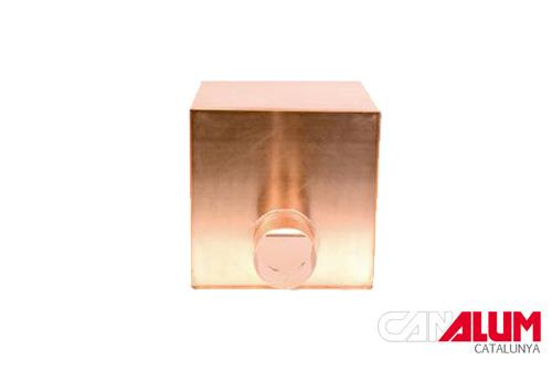 Caja colectora cuadrada para canalones de cbre