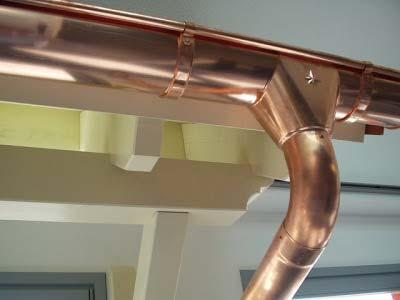 detalle de canalón de cobre