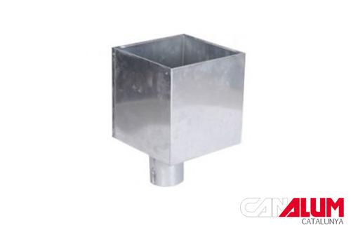 Cubeta cuadrada para sistema de canalones de zinc